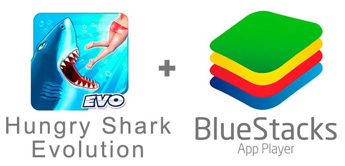 Устанавливаем Хангри Шарк Эволюшн с помощью эмулятора BlueStacks.