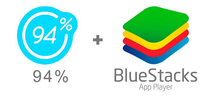 Устанавливаем 94% с помощью эмулятора BlueStacks.